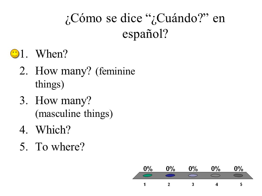 ¿Cómo se dice ¿Cuándo? en español? 1.When? 2.How many? (feminine things) 3.How many? (masculine things) 4.Which? 5.To where?