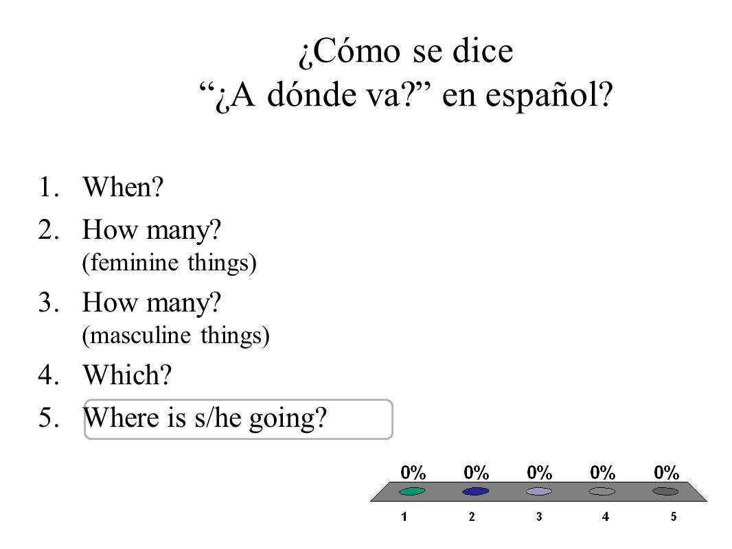 ¿Cómo se dice ¿A dónde va? en español? 1.When? 2.How many? (feminine things) 3.How many? (masculine things) 4.Which? 5.Where is s/he going?