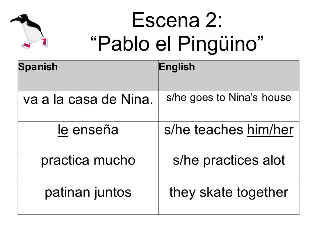 Escena 2: Pablo el Pingüino SpanishEnglish va a la casa de Nina. s/he goes to Ninas house le enseñas/he teaches him/her practica muchos/he practices a