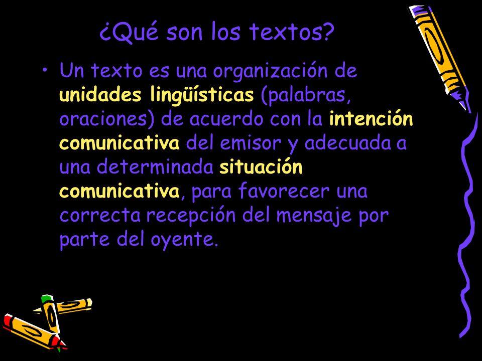 ¿Qué son los textos? Un texto es una organización de unidades lingüísticas (palabras, oraciones) de acuerdo con la intención comunicativa del emisor y