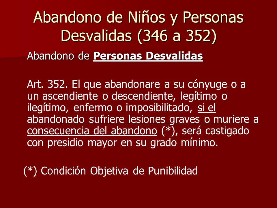 Abandono de Niños y Personas Desvalidas (346 a 352) Abandono de Personas Desvalidas Art. 352. El que abandonare a su cónyuge o a un ascendiente o desc
