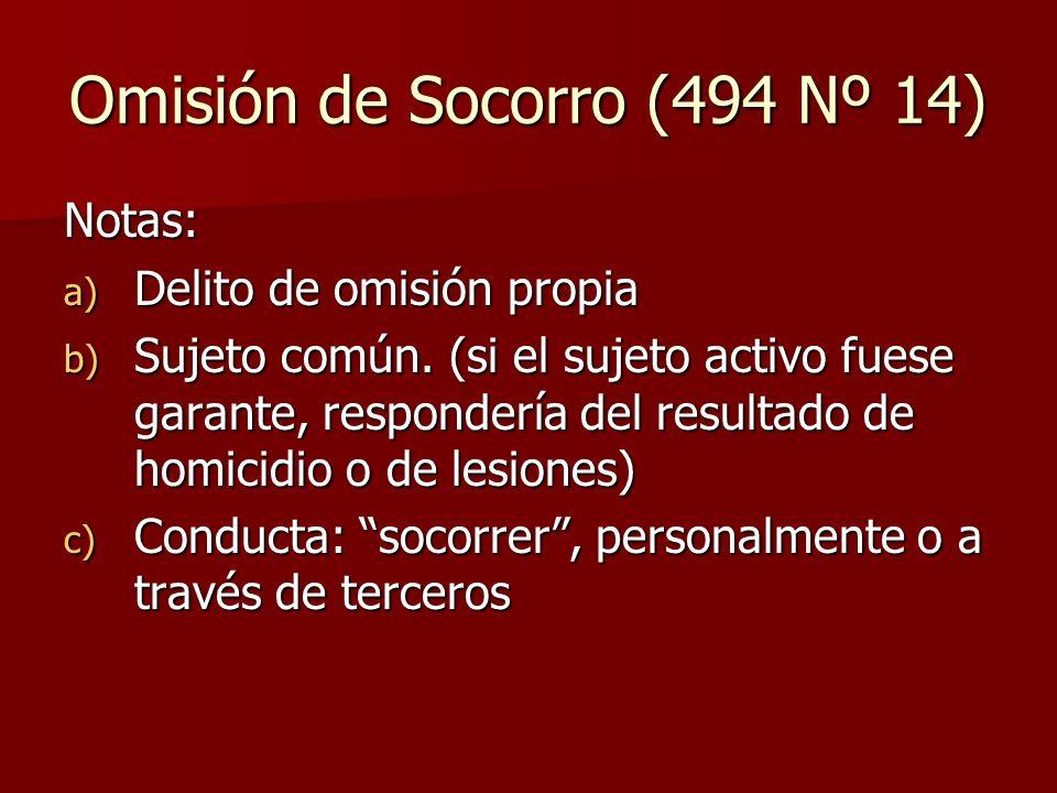 Omisión de Socorro (494 Nº 14) Notas: a) Delito de omisión propia b) Sujeto común. (si el sujeto activo fuese garante, respondería del resultado de ho