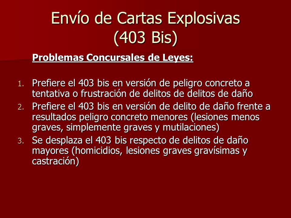 Envío de Cartas Explosivas (403 Bis) Problemas Concursales de Leyes: 1. Prefiere el 403 bis en versión de peligro concreto a tentativa o frustración d