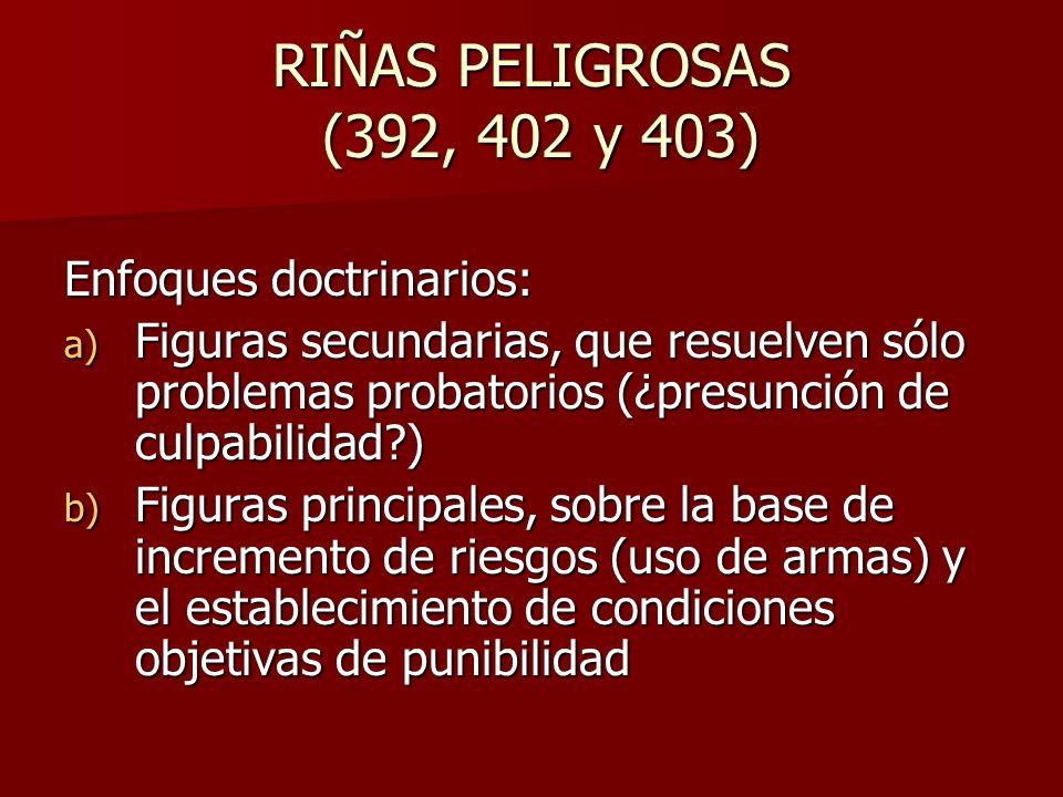 RIÑAS PELIGROSAS (392, 402 y 403) Enfoques doctrinarios: a) Figuras secundarias, que resuelven sólo problemas probatorios (¿presunción de culpabilidad