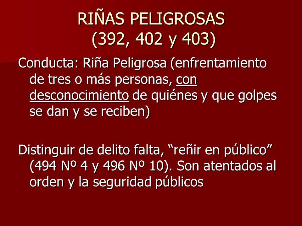 RIÑAS PELIGROSAS (392, 402 y 403) Conducta: Riña Peligrosa (enfrentamiento de tres o más personas, con desconocimiento de quiénes y que golpes se dan