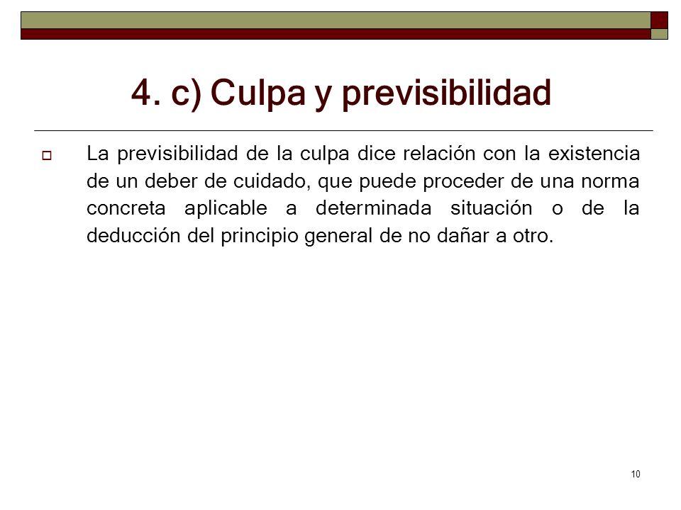 10 4. c) Culpa y previsibilidad La previsibilidad de la culpa dice relación con la existencia de un deber de cuidado, que puede proceder de una norma