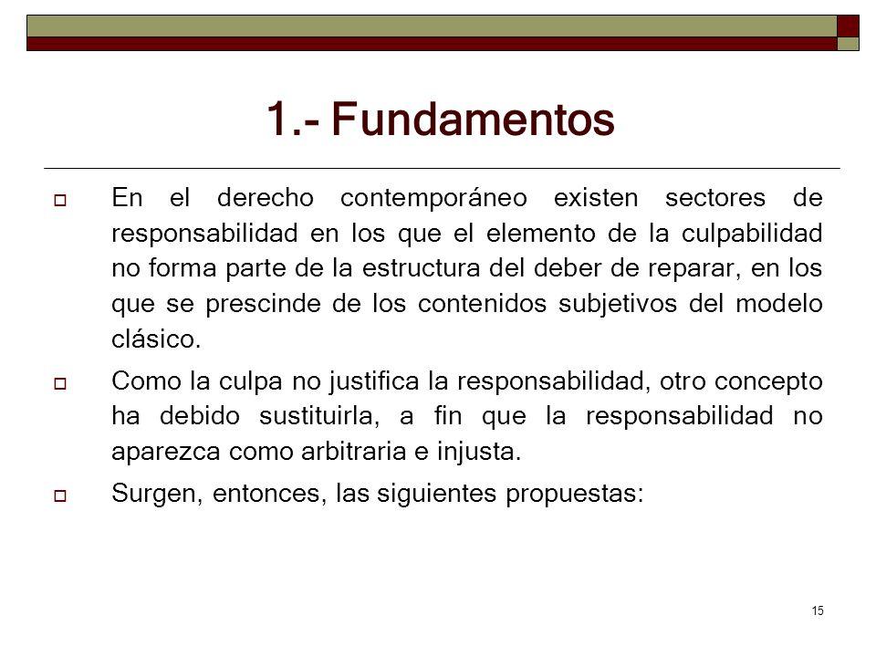 15 1.- Fundamentos En el derecho contemporáneo existen sectores de responsabilidad en los que el elemento de la culpabilidad no forma parte de la estr