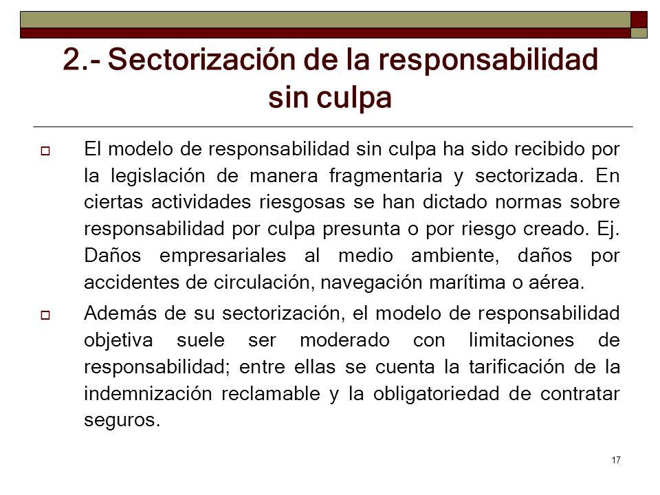 17 2.- Sectorización de la responsabilidad sin culpa El modelo de responsabilidad sin culpa ha sido recibido por la legislación de manera fragmentaria