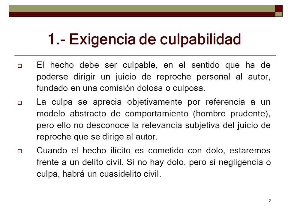 2 1.- Exigencia de culpabilidad El hecho debe ser culpable, en el sentido que ha de poderse dirigir un juicio de reproche personal al autor, fundado e