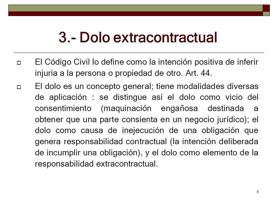 5 3.- Dolo extracontractual Para saber si el agente actuó con dolo es necesario apreciar sus circunstancias personales: si estaba en su intencionalidad actuar ilícitamente a sabiendas que podía causa daño.