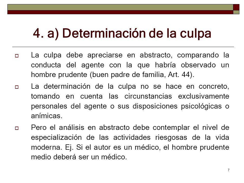 7 4. a) Determinación de la culpa La culpa debe apreciarse en abstracto, comparando la conducta del agente con la que habría observado un hombre prude