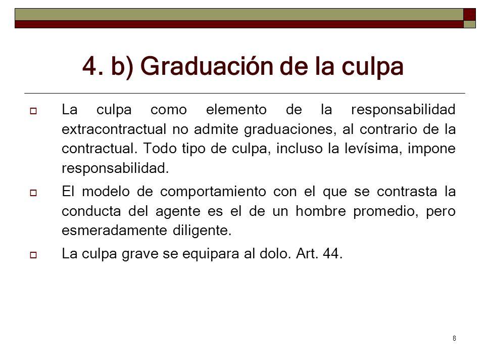 8 4. b) Graduación de la culpa La culpa como elemento de la responsabilidad extracontractual no admite graduaciones, al contrario de la contractual. T