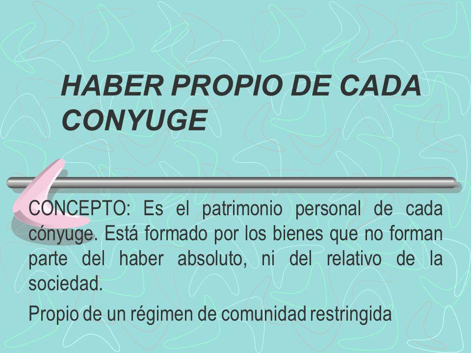 HABER PROPIO DE CADA CONYUGE CONCEPTO: Es el patrimonio personal de cada cónyuge. Está formado por los bienes que no forman parte del haber absoluto,