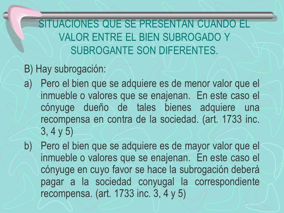 SITUACIONES QUE SE PRESENTAN CUANDO EL VALOR ENTRE EL BIEN SUBROGADO Y SUBROGANTE SON DIFERENTES. B) Hay subrogación: a)Pero el bien que se adquiere e