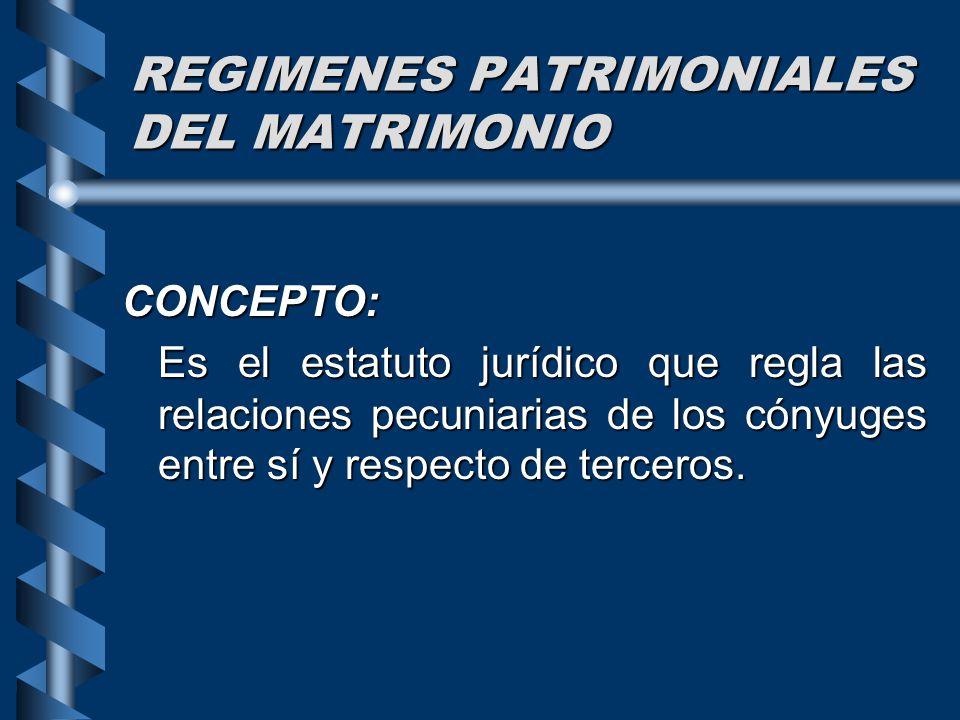 REGIMENES PATRIMONIALES DEL MATRIMONIO CONCEPTO: Es el estatuto jurídico que regla las relaciones pecuniarias de los cónyuges entre sí y respecto de t
