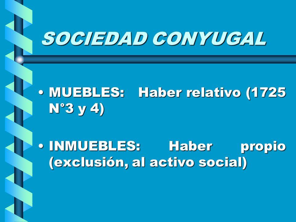SOCIEDAD CONYUGAL MUEBLES: Haber relativo (1725 N°3 y 4)MUEBLES: Haber relativo (1725 N°3 y 4) INMUEBLES: Haber propio (exclusión, al activo social)IN
