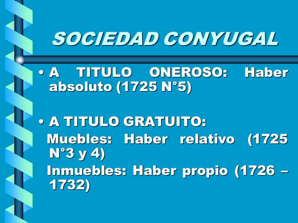 SOCIEDAD CONYUGAL A TITULO ONEROSO: Haber absoluto (1725 N°5)A TITULO ONEROSO: Haber absoluto (1725 N°5) A TITULO GRATUITO:A TITULO GRATUITO: Muebles:
