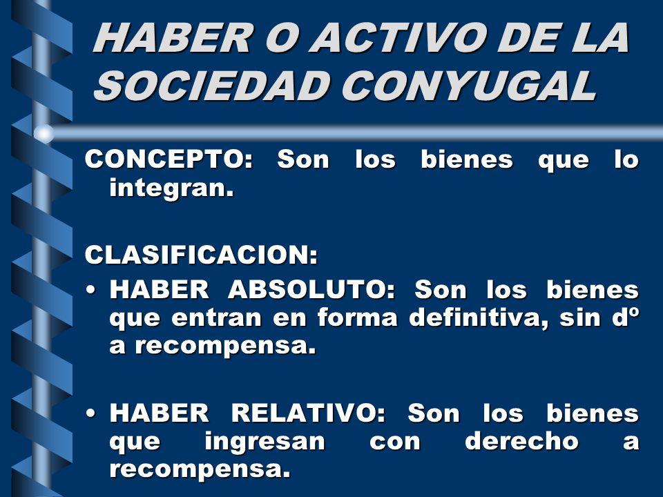 HABER O ACTIVO DE LA SOCIEDAD CONYUGAL CONCEPTO: Son los bienes que lo integran. CLASIFICACION: HABER ABSOLUTO: Son los bienes que entran en forma def
