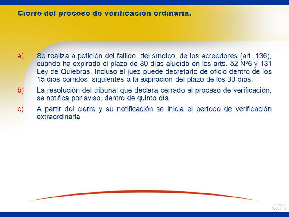 03/00/00 Page # 11 Cierre del proceso de verificación ordinaria.