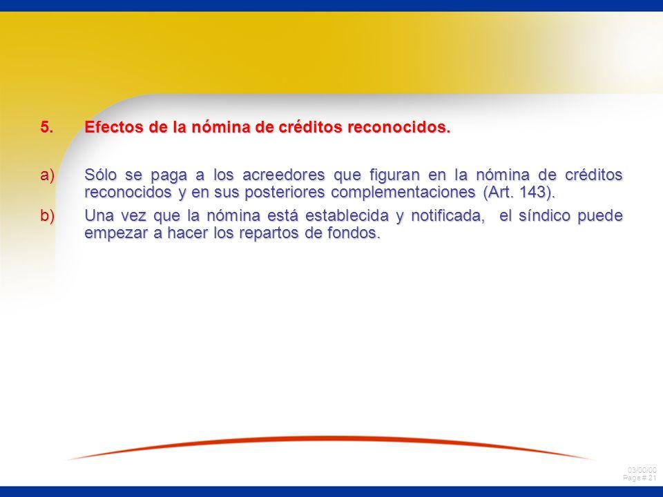 03/00/00 Page # 21 5.Efectos de la nómina de créditos reconocidos.