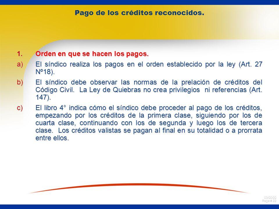 03/00/00 Page # 22 Pago de los créditos reconocidos.