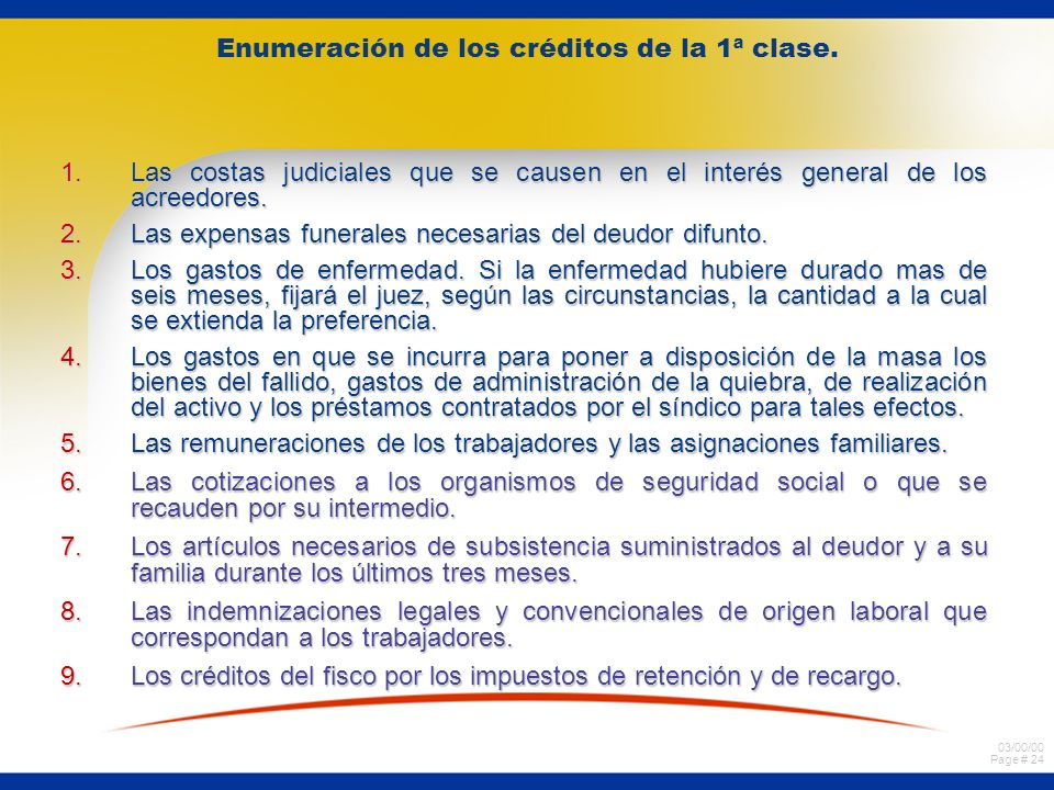 03/00/00 Page # 24 Enumeración de los créditos de la 1ª clase.