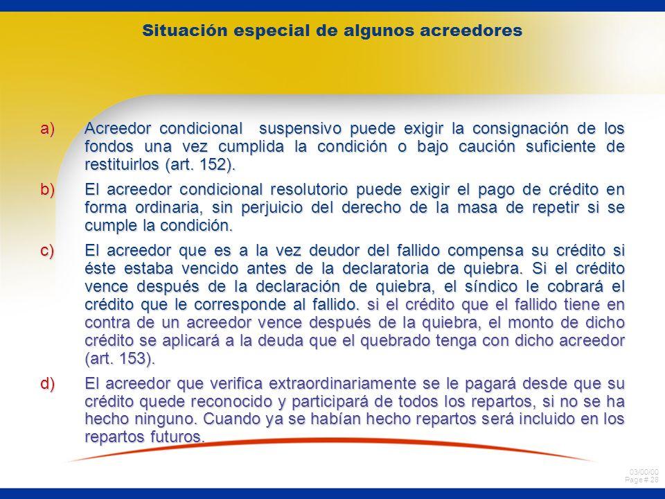 03/00/00 Page # 28 Situación especial de algunos acreedores a)Acreedor condicional suspensivo puede exigir la consignación de los fondos una vez cumplida la condición o bajo caución suficiente de restituirlos (art.