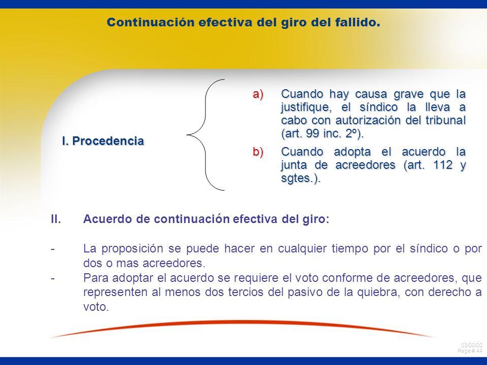 03/00/00 Page # 44 Continuación efectiva del giro del fallido.