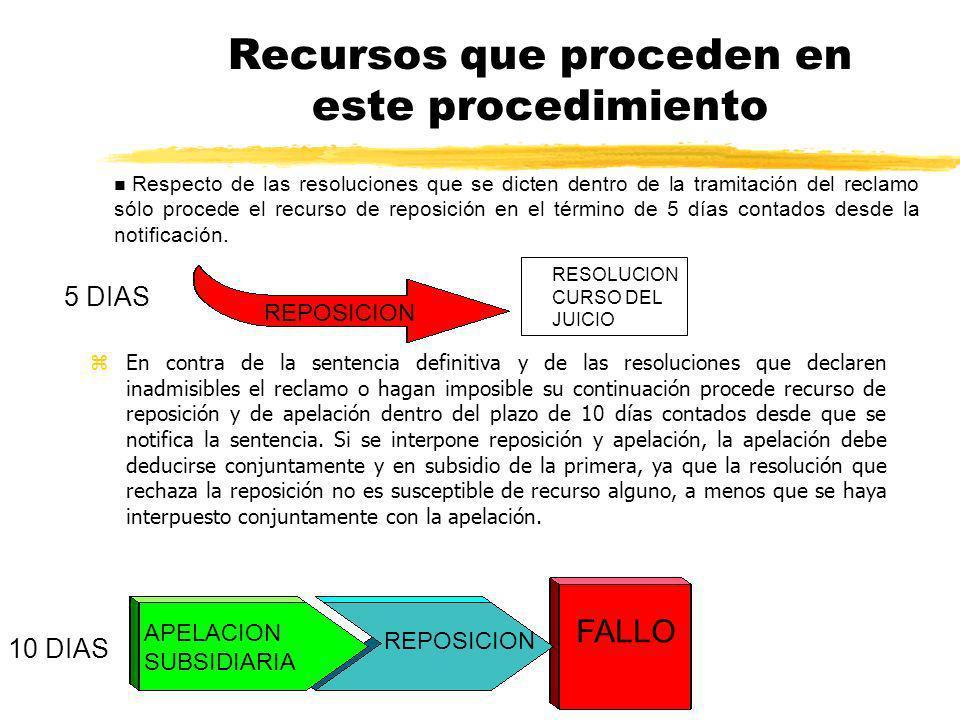 Recursos que proceden en este procedimiento zEn contra de la sentencia definitiva y de las resoluciones que declaren inadmisibles el reclamo o hagan i