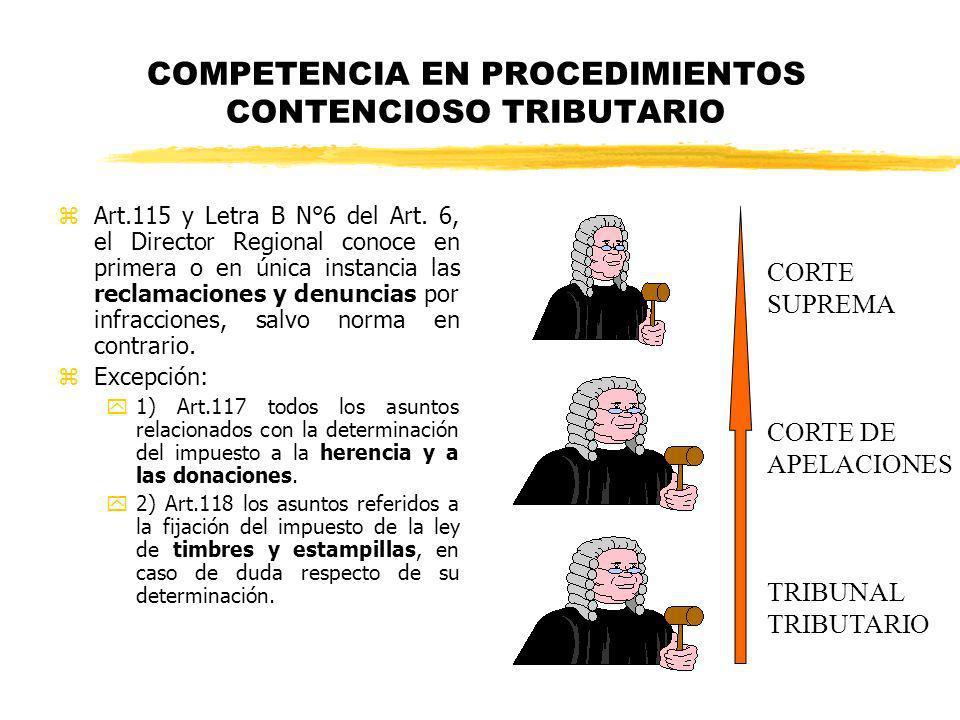 COMPETENCIA EN PROCEDIMIENTOS CONTENCIOSO TRIBUTARIO zArt.115 y Letra B N°6 del Art. 6, el Director Regional conoce en primera o en única instancia la