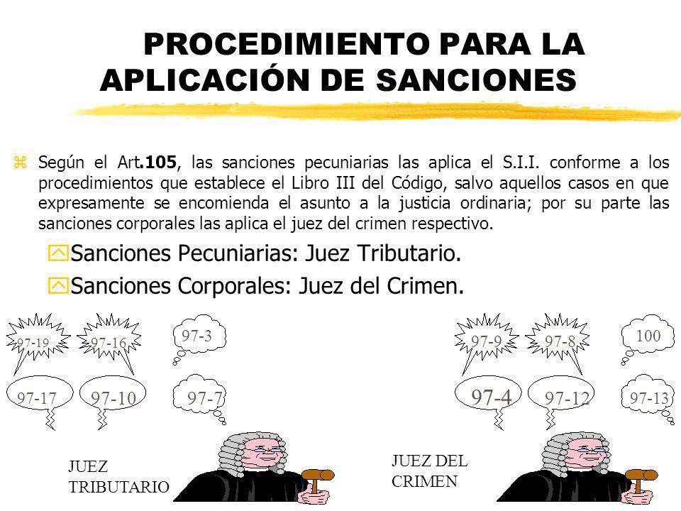 PROCEDIMIENTO PARA LA APLICACIÓN DE SANCIONES zSegún el Art.105, las sanciones pecuniarias las aplica el S.I.I. conforme a los procedimientos que esta