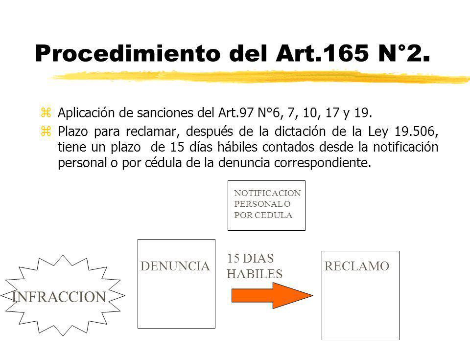 Procedimiento del Art.165 N°2. zAplicación de sanciones del Art.97 N°6, 7, 10, 17 y 19. zPlazo para reclamar, después de la dictación de la Ley 19.506