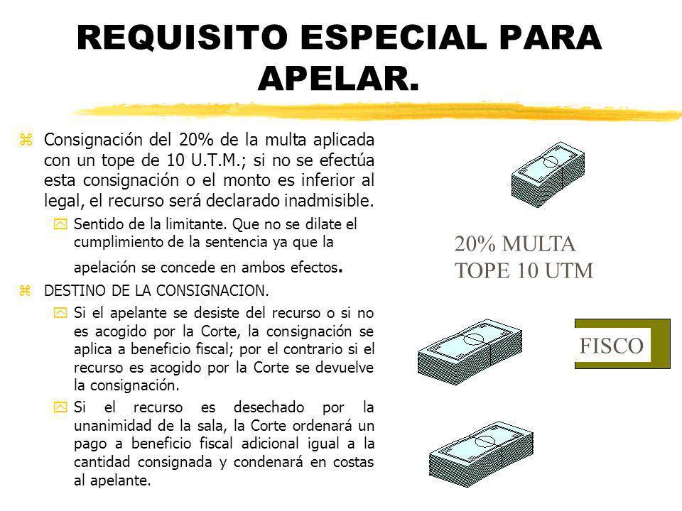 REQUISITO ESPECIAL PARA APELAR. zConsignación del 20% de la multa aplicada con un tope de 10 U.T.M.; si no se efectúa esta consignación o el monto es