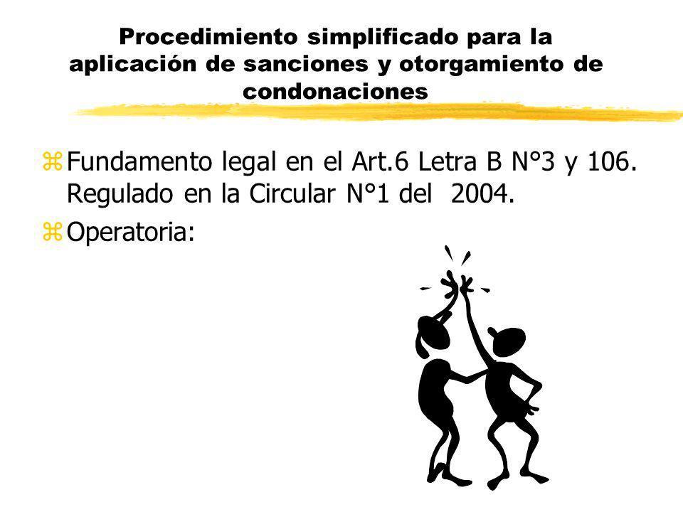 Procedimiento simplificado para la aplicación de sanciones y otorgamiento de condonaciones zFundamento legal en el Art.6 Letra B N°3 y 106. Regulado e