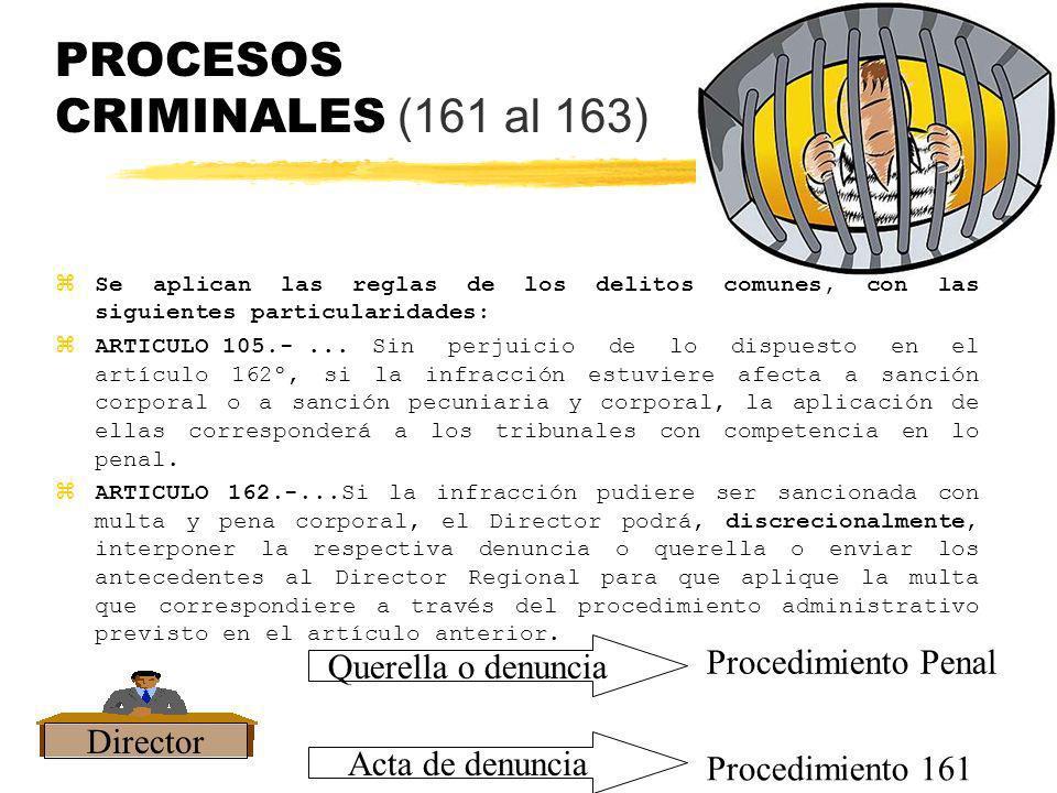 PROCESOS CRIMINALES (161 al 163) z Se aplican las reglas de los delitos comunes, con las siguientes particularidades: ARTICULO 105.-...Sin perjuicio d
