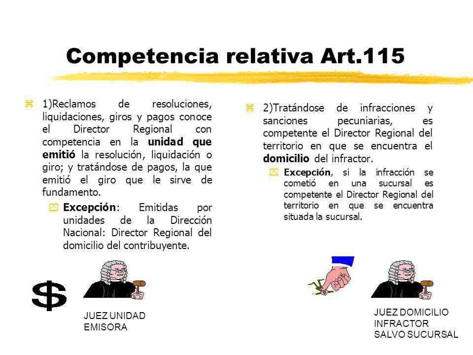 Competencia relativa Art.115 z1)Reclamos de resoluciones, liquidaciones, giros y pagos conoce el Director Regional con competencia en la unidad que em