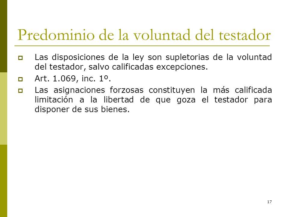 17 Predominio de la voluntad del testador Las disposiciones de la ley son supletorias de la voluntad del testador, salvo calificadas excepciones. Art.