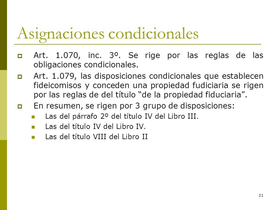 21 Asignaciones condicionales Art. 1.070, inc. 3º. Se rige por las reglas de las obligaciones condicionales. Art. 1.079, las disposiciones condicional
