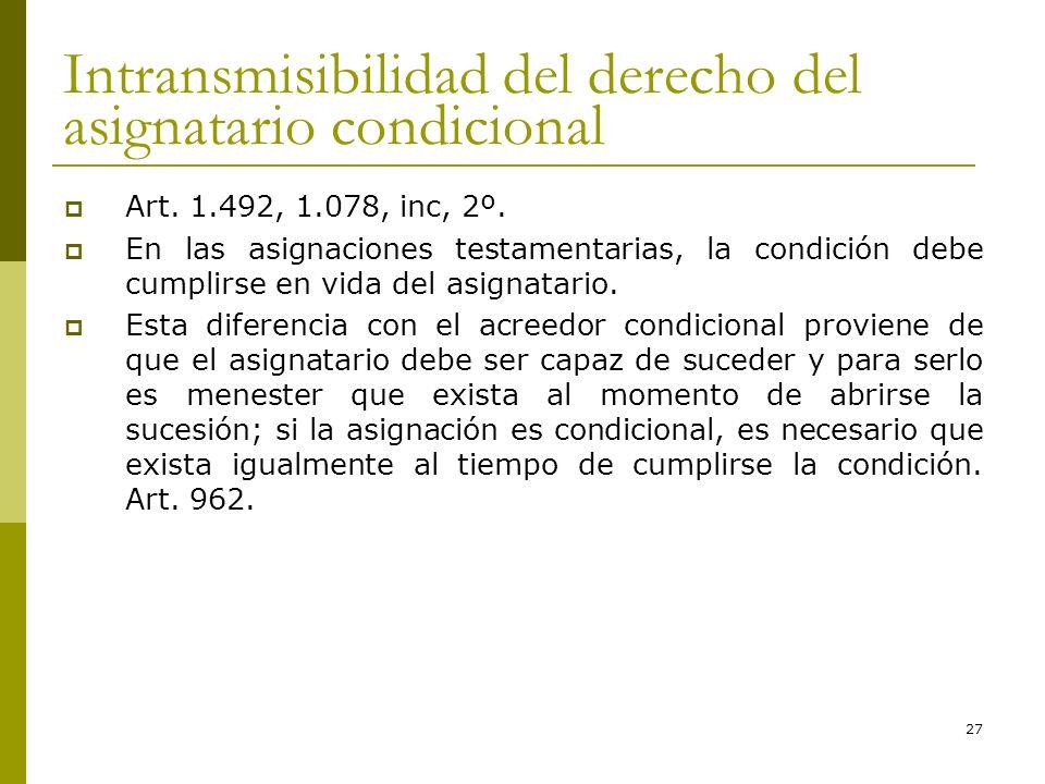 27 Intransmisibilidad del derecho del asignatario condicional Art. 1.492, 1.078, inc, 2º. En las asignaciones testamentarias, la condición debe cumpli
