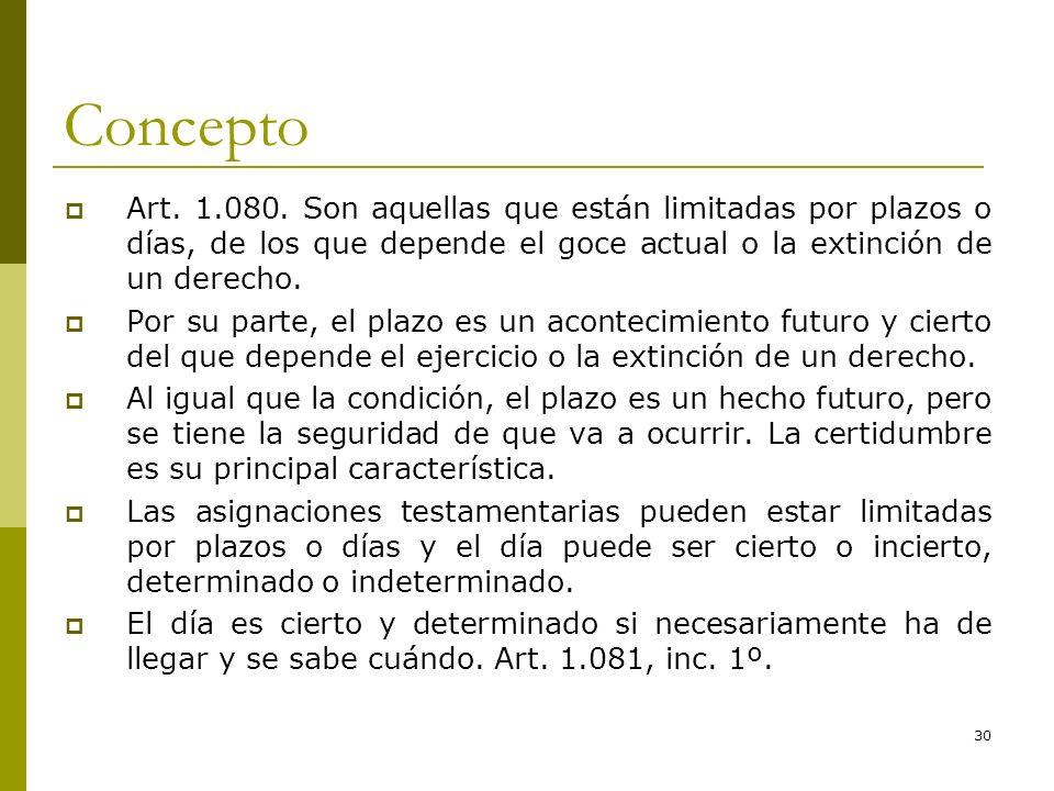30 Concepto Art. 1.080. Son aquellas que están limitadas por plazos o días, de los que depende el goce actual o la extinción de un derecho. Por su par