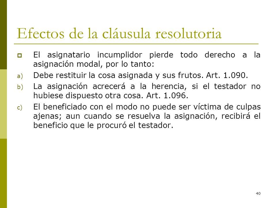 40 Efectos de la cláusula resolutoria El asignatario incumplidor pierde todo derecho a la asignación modal, por lo tanto: a) Debe restituir la cosa as
