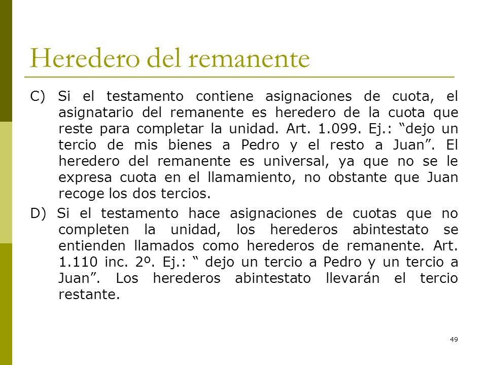 49 Heredero del remanente C) Si el testamento contiene asignaciones de cuota, el asignatario del remanente es heredero de la cuota que reste para comp