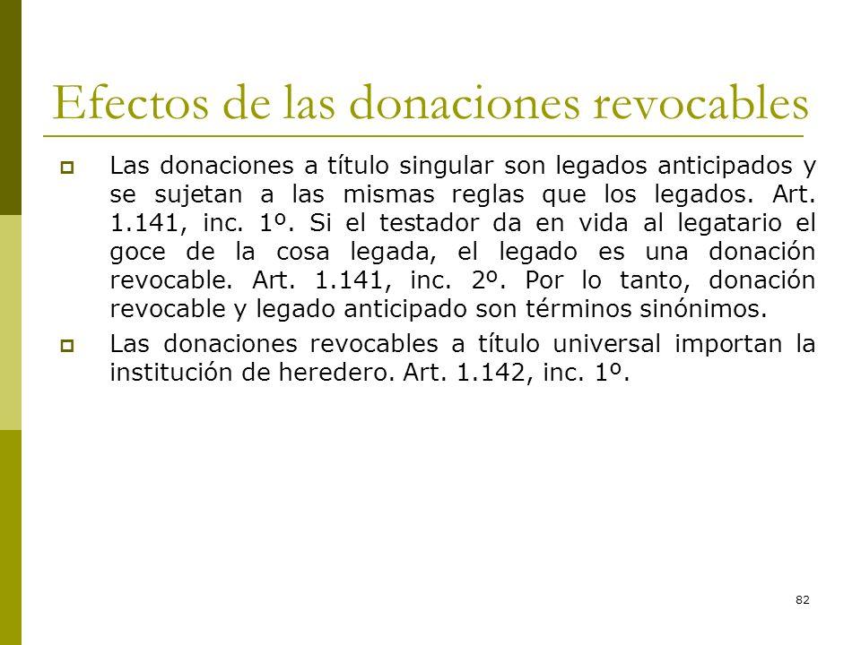 82 Efectos de las donaciones revocables Las donaciones a título singular son legados anticipados y se sujetan a las mismas reglas que los legados. Art