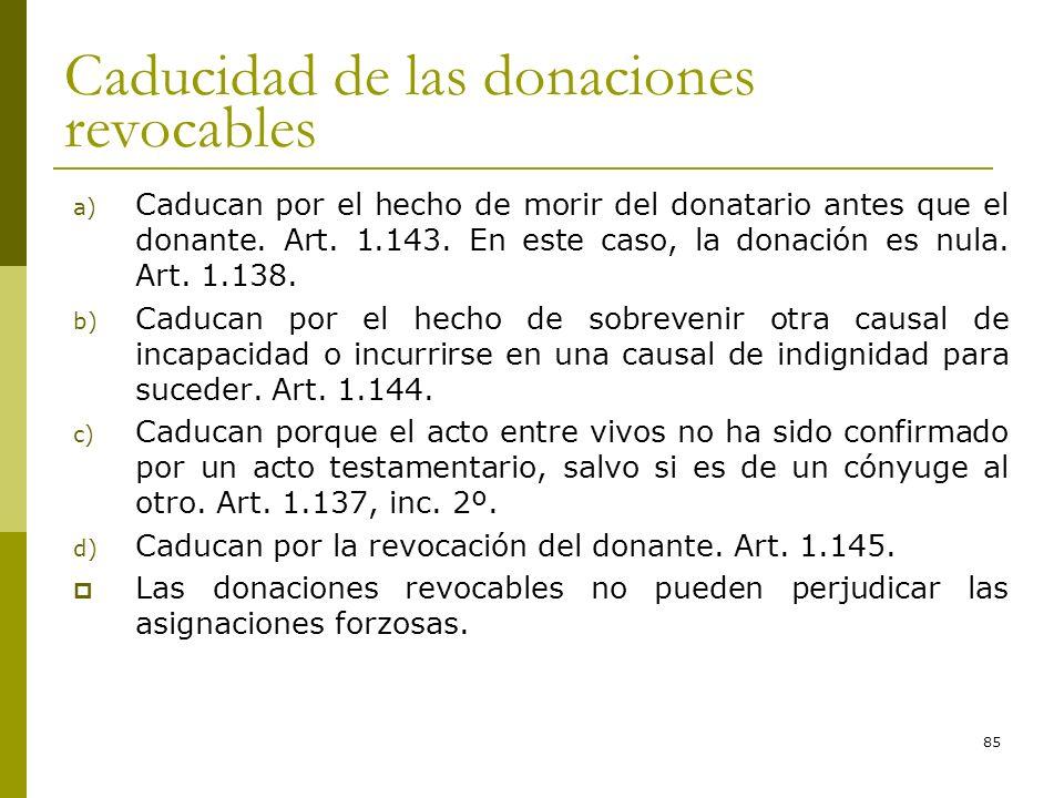 85 Caducidad de las donaciones revocables a) Caducan por el hecho de morir del donatario antes que el donante. Art. 1.143. En este caso, la donación e