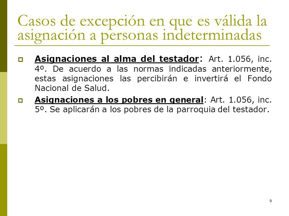 9 Casos de excepción en que es válida la asignación a personas indeterminadas Asignaciones al alma del testador : Art. 1.056, inc. 4º. De acuerdo a la