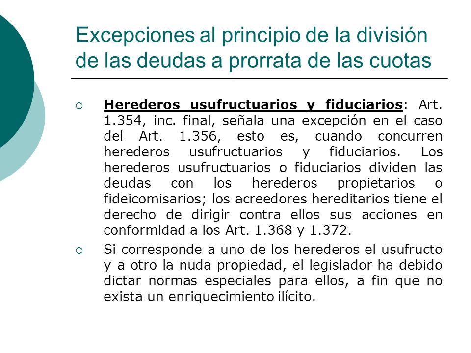 Excepciones al principio de la división de las deudas a prorrata de las cuotas Herederos usufructuarios y fiduciarios: Art. 1.354, inc. final, señala