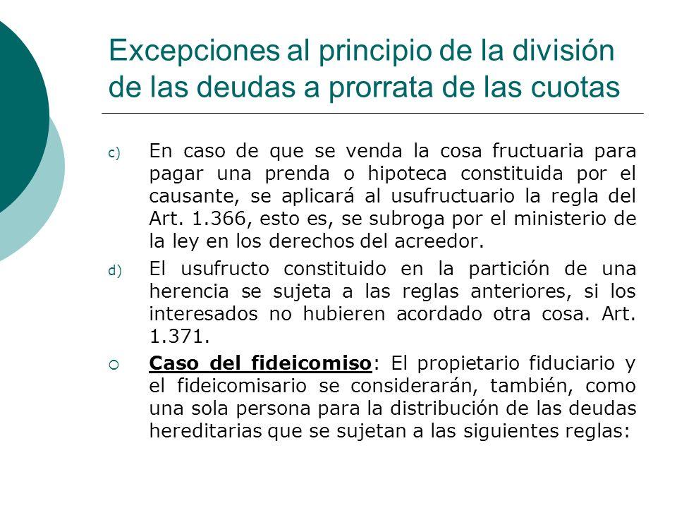 Excepciones al principio de la división de las deudas a prorrata de las cuotas c) En caso de que se venda la cosa fructuaria para pagar una prenda o h