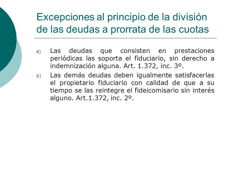 Excepciones al principio de la división de las deudas a prorrata de las cuotas a) Las deudas que consisten en prestaciones periódicas las soporta el f