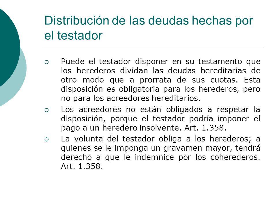 Distribución de las deudas hechas por el testador Puede el testador disponer en su testamento que los herederos dividan las deudas hereditarias de otr
