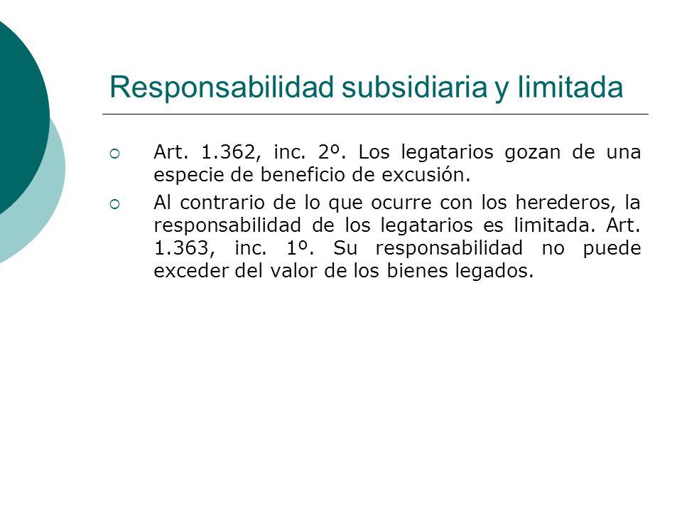 Responsabilidad subsidiaria y limitada Art. 1.362, inc. 2º. Los legatarios gozan de una especie de beneficio de excusión. Al contrario de lo que ocurr